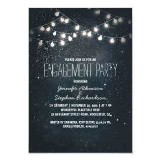 string lights and night sky stars engagement party card