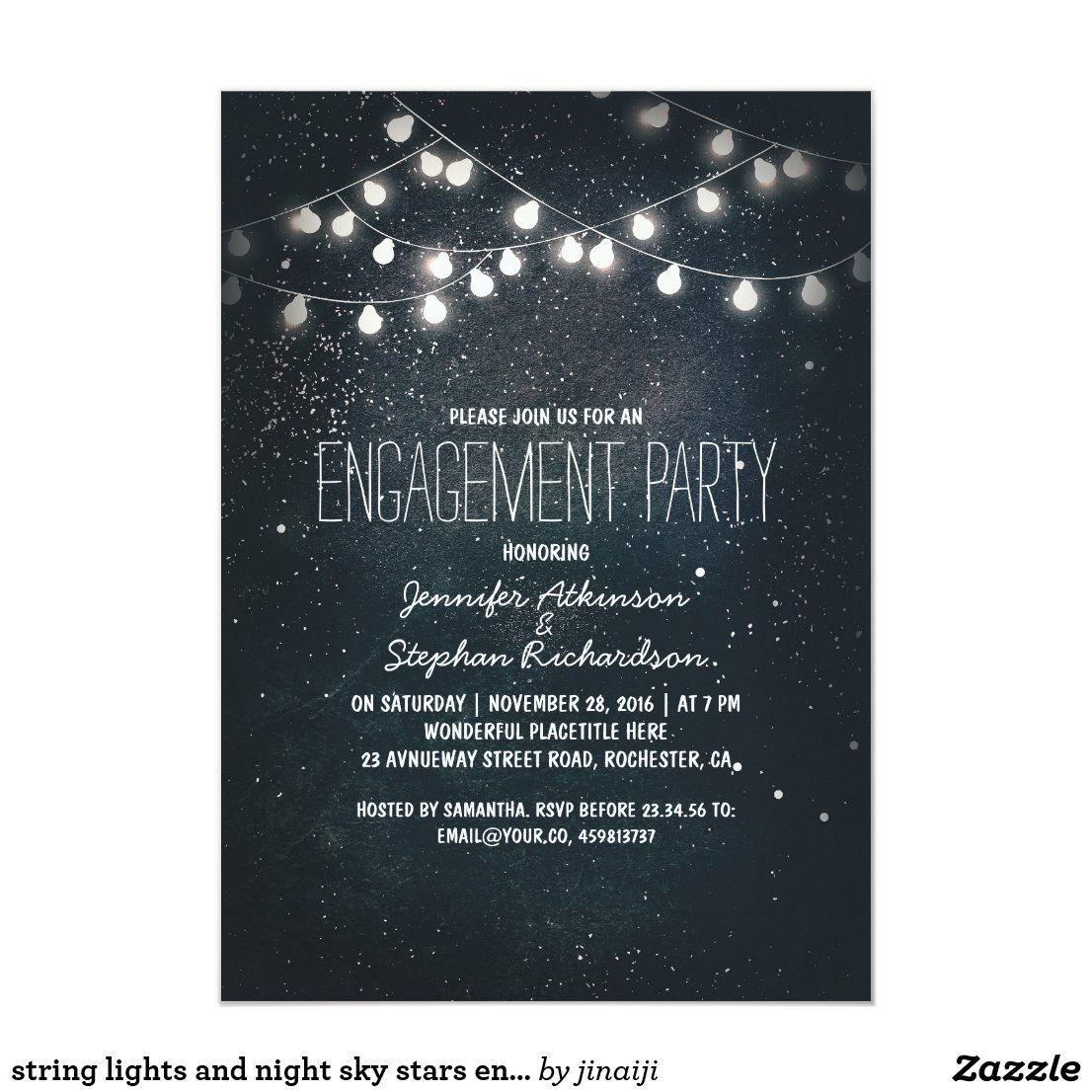 string lights and night sky stars engagement party invitation
