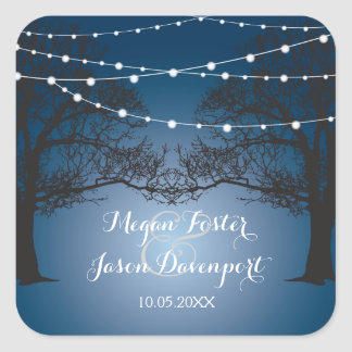 String lights and tree wedding stickers