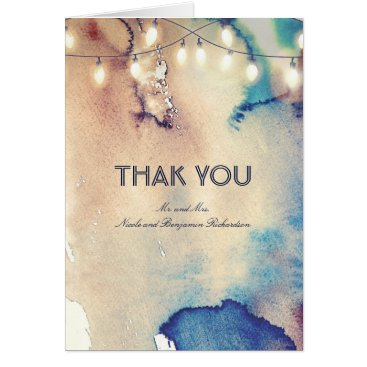 Beach Themed String Lights and Vintage Watercolors Thank You Card