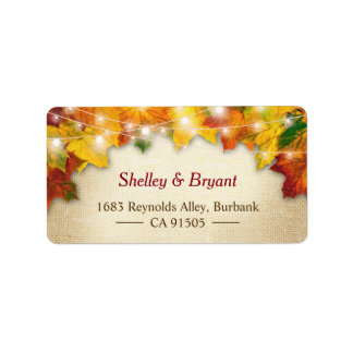 String Lights Autumn Leaves Rustic Burlap Seasonal Label