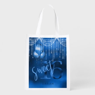 String Lights & Balloons Sweet 16 Dk Blue ID473 Grocery Bag