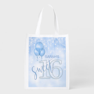 String Lights & Balloons Sweet 16 Lt. Blue ID473 Grocery Bag
