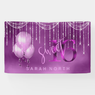String Lights & Balloons Sweet 16 Orchid ID473 Banner