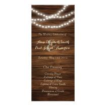 String lights barn wood wedding program