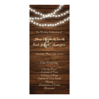 String lights barn wood wedding program customized rack card