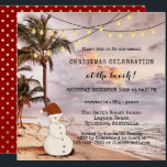"""String Lights Beach Christmas Party Invitation<br><div class=""""desc"""">Christmas party invitation featuring a beach scene with palm trees and festive string lights and a sand snowman.  For all customizing options,  choose """"customize it"""". Beautiful for residents of a tropical area or for a Christmas in July celebration.</div>"""