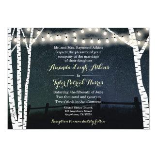 String Lights Birch Tree Wedding Invitations