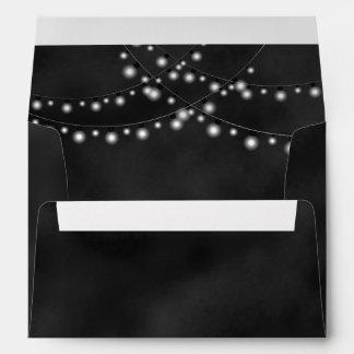 String Lights Black Chalkboard Custom Envelopes