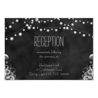 String Lights Black Chalkboard Reception Card