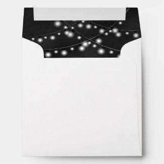 String Lights Black Chalkboard Wedding Envelopes