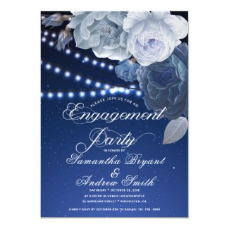 String lights Blue Elegant Engagement Invitation