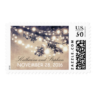String lights blue rustic wedding postage stamp