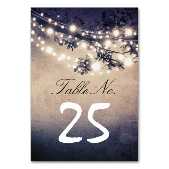 string lights branches table number cards