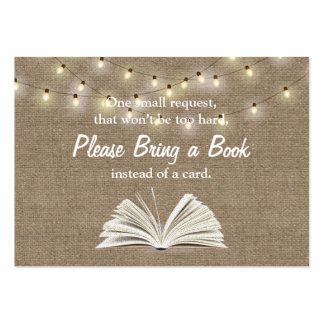 String Lights Bring a Book Baby Shower Insert Large Business Card