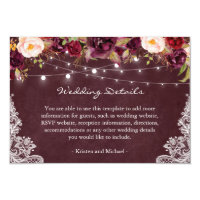String Lights Burgundy Floral Lace Wedding Details Card