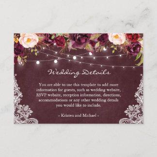 String Lights Burgundy Floral Lace Wedding Details Enclosure Card