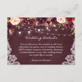 String Lights Burgundy Floral Lace Wedding Details Enclosure Card
