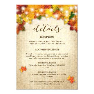 String Lights Burlap Autumn Leaves Wedding Detail Invitation