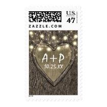 String Lights   Carved Heart Oak Tree Bark Wedding Postage