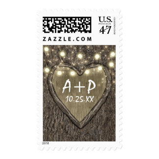 String Lights + Carved Heart Oak Tree Bark Wedding Postage
