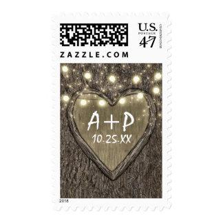 String Lights + Carved Heart Oak Tree Bark Wedding Postage Stamp