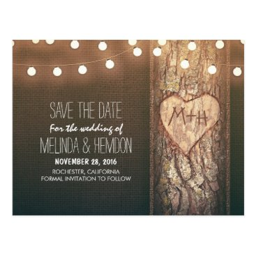 Valentines Themed String lights carved heart rustic save the date postcard