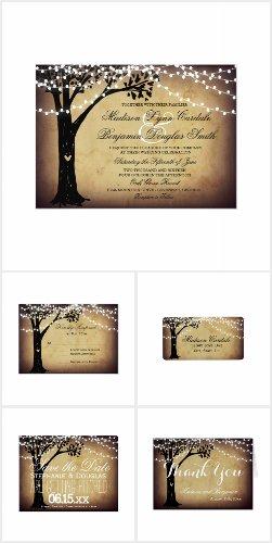 String Lights Carved Oak Tree Wedding Invite Set