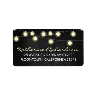 string lights chalkboard address labels