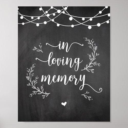 String Lights Chalkboard In loving memory memorial Poster