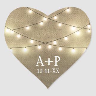 String Lights Country Rustic Burlap Wedding Favors Heart Sticker