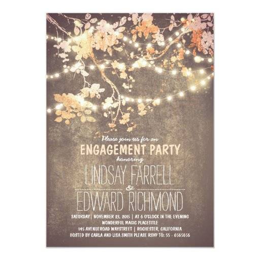 String lights cute and fancy engagement party Invitation