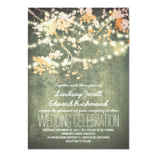 "String lights cute and fancy wedding invitations 5"" x 7"" invitation card"