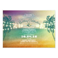String lights cute beach wedding invitations