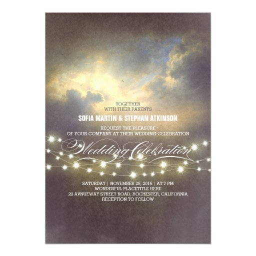 string lights dramatic sunset wedding invitation