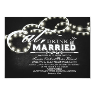 String lights Eat, Drink and Be Married Wedding Card