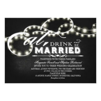 String lights Eat Drink and Be Married Wedding Personalized Invitations