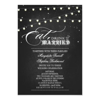 "String lights Eat, Drink and Be Married Wedding 5"" X 7"" Invitation Card"