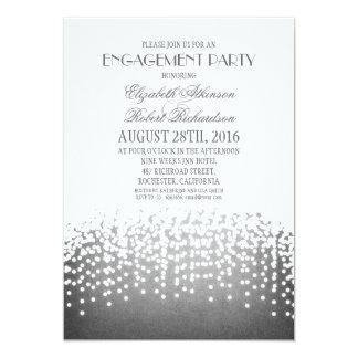 string lights elegant engagement party card