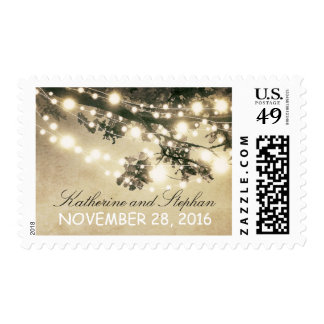 String lights elegant rustic wedding postage stamp