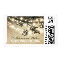 String Lights Elegant Rustic Wedding Postage Stamp at Zazzle