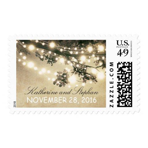 String lights elegant rustic wedding postage stamp