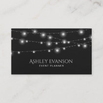 String Lights Event Party Planner Elegant Business Card