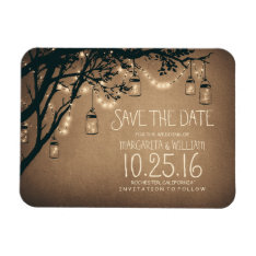 String Lights Fireflies Mason Jars Save The Date Magnet at Zazzle