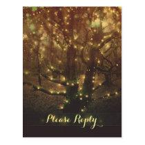string lights forest trees RSVP postcards