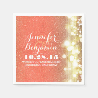 String lights glitter glamours peach and gold paper napkin