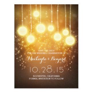 string lights glitter & lanterns save the date postcard