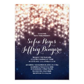 String Lights Glitter Navy Vintage Elegant Wedding Invitation