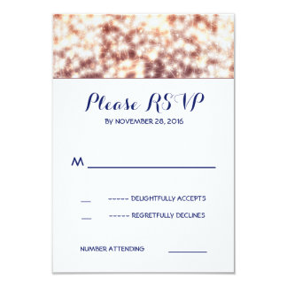 String lights glitz wedding RSVP cards