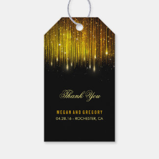 String Lights Gold and Black Wedding Thank You Gift Tags